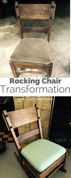 An old rocking chair gets a makeover instead of getting dumped! Check out the transformation to the wood and the simple upholstery. Upholstery Fabric For Chairs, Upholstered Swivel Chairs, Furniture Upholstery, Cheap Dining Room Chairs, Accent Chairs For Living Room, Desk Chairs, Bag Chairs, Dump Furniture, Furniture Makeover