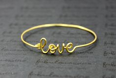 Gold Love Bangle Bracelet, Wire Love Bangle, Infinity Love and Friendship Bracelet Jewelry, Girlfriend, Lovers, Bridesmaids Gift