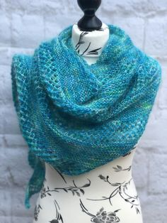 Unique Hand Knitted Merino, Mohair and Silk Shawl Scarf £50.00 Handmade Scarves, Silk Shawl, Triangle Shape, Garter Stitch, Beautiful Gifts, Hand Dyed Yarn, Knitting Projects, Knits, Merino Wool