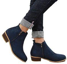 a6fa40d85fe99 ... Chaussures Femme Automne Hiver. Voir plus. Boots Femme Talon Bottine Femmes  Hiver Daim Cuir Bottes Chelsea Low Chic Cheville Compensées Grande Taille