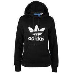 $49 adidas Originals Trefoil Hoodie - Women's - Black/White