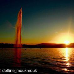 Les couchers de soleil avec le Jet deau sont inoubliables #  . The sunsets at the Jet deau are priceless   Merci @delfine_moukmouk Northern Lights, Celestial, Sunset, Nature, Travel, Outdoor, Thanks, Sun, Outdoors