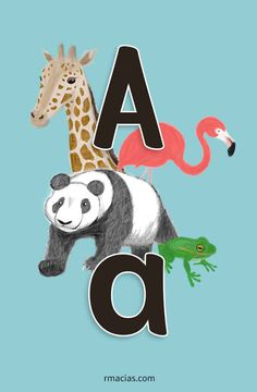 Multilingual Vowels ( English / Spanish / French / Italian / Portuguese ) - Letter A is for Animals / Animales / Animaux / Animais / Animali - Free Printable by kids activities designer Rodrigo Macias