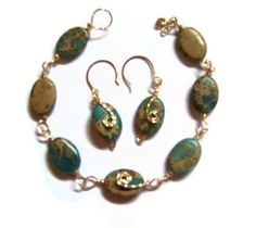 14K GF Wire Wrapped African Turquoise Bracelet with Earrings by whatsingramasdrawers, $35.00