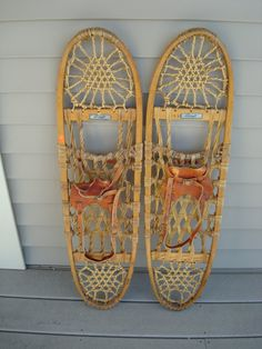 Nice solid vintage wood and rawhide snowshoes with leather straps- Snocraft, Norway, Maine by HeathersCollectibles on Etsy