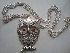 Owl Necklace silver color owl Jewelry Cute mother by BiancasArt Owl Jewelry, Unique Jewelry, Owl Necklace, Silver Color, Bracelets, Handmade Gifts, Cute, Etsy, Vintage