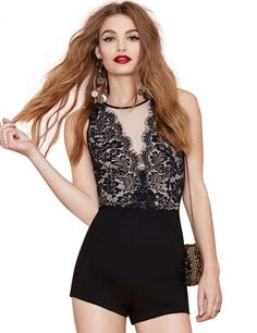 410bd83985 Short Jumpsuits Open-back Sleeveless Floral Lace Party Romper
