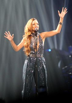 Rihanna bedazzles at Montreal concert in sparkly jumpsuit