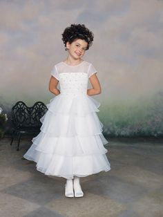 Perfect A-line lace short sleeve flower girl dress
