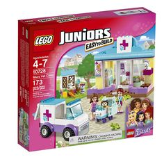 Be part of Olivia and Mia's veterinary team, featuring a clinic with treatment room and a rabbit house, plus an ambulance with a door that opens at the back and a wheeled stretcher to help transport patients to the clinic. LEGO Juniors sets are age-appropriate building experiences for ages 4-7, with fun and recognizable LEGO Friends sets that give children a great start with the LEGO brick. Includes 2 mini-dolls plus assorted animals.<ul>LEGO JUNIORS Mia's Vet Clinic 10728 features:<li>..