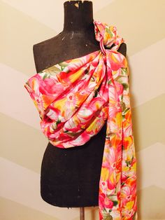 Beautiful bright floral single layer ring sling with pink rings  https://www.etsy.com/shop/AnnaBananaRingSlings