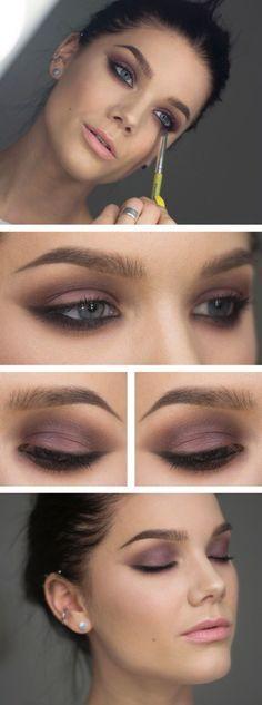 Love this purple smoky eye makeup.