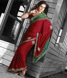 Green And Red Net And Satin Designer Saree 15696 With Unstitched Blouse