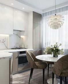 We LOVE this contemporary glass kitchen. Use our beautiful RAUVISIO crystal surfaces in your home: Kitchen Room Design, Modern Kitchen Design, Dining Room Design, Home Decor Kitchen, Kitchen Interior, Interior Design Living Room, Home Kitchens, Round Kitchen, Glass Kitchen