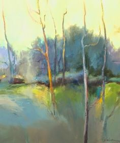 """Joan Fullerton Paintings: Contemporary Abstract Aspen Tree Landscape Painting """"Spring Morning"""" by Intuitive Artist Joan Fullerton"""