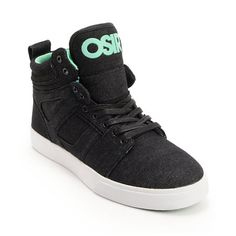 Upgrade those battered old skate shoes and save your ankles with the Osiris Raider black and mint denim skate shoe. These high top guys Zumiez exclusive mint and black denim skate shoes feature a tough black denim upper, seamless toe cap, padded collar and tongue, reinforced sidewalls with reinforced abrasion areas, vulcanized outsole for better board feel and more flexibility, custom Osiris mint herringbone bottom tread for grip, custom mint inner lining, elastic band at tongue to keep your…