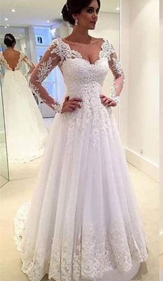 Custom Made A Line Long Sleeve Lace Wedding Dresses 2017 Vintage Bridal Gowns Vestidos de Novia Fashion Low Back V neck