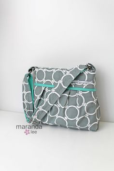Stella DELUXE Diaper Bag Medium - Linked Grey with Mint - Circles Nautical Nappy Bag  Adjustable Strap Attach to Stroller by marandalee on Etsy