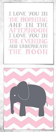 'Love You' Elephant Personalized Print Set