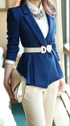 Work wear - blue jacket, white belt and white pants