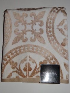 Kassa Fina Home Collection Beige/Gold Bath Towel New With Tags #KassaFina