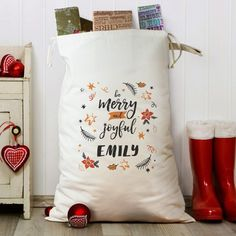 Make the act of giving Christmas gifts even more special by investing in this spectacular Be Merry and Joyful Cotton Gifts Heavy Cotton Sack in which