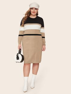 Shein Plus Round Neck Colorblock Sweater Dress Plus Size Pullover, Plus Size Sweater Dress, Sweater Dress Outfit, Plus Size Sweaters, Sweater Dresses, Plus Size Winter Outfits, Plus Size Fall Fashion, Plus Size Outfits, Pull Bordeaux