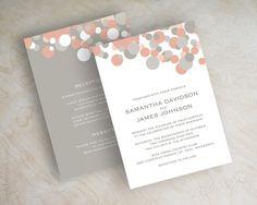 Peach and Gray Modern Polka Dot Wedding Invitations