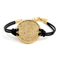 Gold Phaistos Coin Black Leather Bracelet