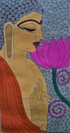 Items similar to Madhubani Painting buddha on Handmade Paper with Acrylic Paint on Etsy Budha Painting, Madhubani Painting, Kalamkari Painting, Mandala Art Lesson, Madhubani Art, Indian Folk Art, India Art, Indian Art Paintings, Buddha Art