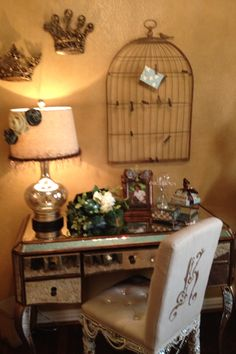 See this room on this weeks episode of Donna Decorates Dallas on HGTV at 6:30am ET. Donna Moss,Queen of Bling adds jewelry to a simple desk chair and creates a masterpiece.
