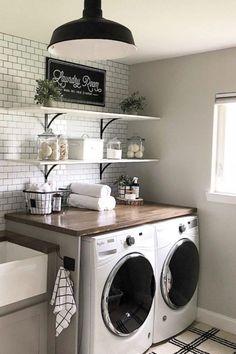 small laundry room design ideas - HOME IDEAS - WEB visit smart storage ideas Laundry Room Sink, Laundry Decor, Farmhouse Laundry Room, Laundry Room Organization, Laundry Closet, Laundry Room With Sink, Storage Organization, Modern Laundry Rooms, Vintage Laundry Rooms