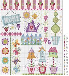Cross stitch home sweet home pattern free Cross Stitch House, Cross Stitch Bird, Cross Stitch Borders, Cross Stitch Samplers, Cross Stitch Flowers, Cross Stitch Charts, Cross Stitch Designs, Cross Stitching, Cross Stitch Embroidery