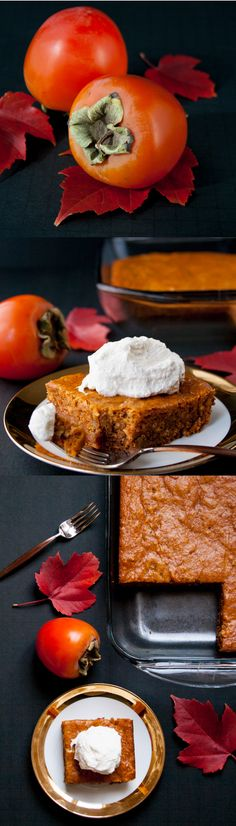 PERSIMMON PUDDING CAKE. A moist and chewy spiced pudding cake made from the delicious persimmon fruit. A perfect fall and winter dessert.