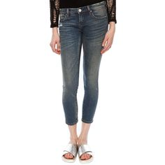 Blank NYC Crop Skinny Jean ($19) ❤ liked on Polyvore featuring jeans, jeepin, skinny fit jeans, blanknyc jeans, skinny jeans, blue jeans and cropped skinny jeans