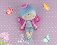Little Princess and Little Butterfly crochet by JulioToys Crochet Zebra, Crochet Butterfly Pattern, Crochet Doll Pattern, Crochet Toys Patterns, Amigurumi Patterns, Stuffed Toys Patterns, Amigurumi Doll, Crochet Dolls, Doll Patterns