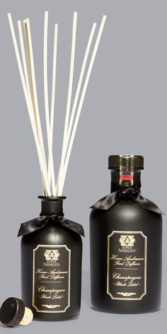 This season celebrate by lighting the Champagne candle or popping the diffuser bottle with #AnticaFarmacista's new Black Label Champagne Limited Edition fragrances #SaksHoliday