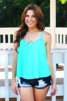 Mint Melody Tank   Mint Crochet Lace Chiffon Tank   uoionline.com: Women's Clothing Boutique #fashion #summer