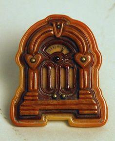 Bakelite Radio Pin  - unsure if antique or contemporary .. suspect the latter.