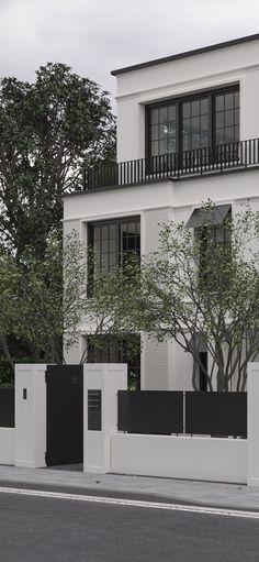 Staircase Design Modern, Modern Exterior House Designs, House Outside Design, House Front Design, Dream House Interior, Dream Home Design, Modern Tropical House, House Design Pictures, Townhouse Designs