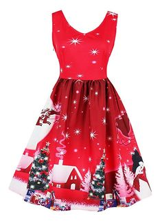 Killreal Women s Cute Reindeer Printed Knee Length Christmas Party Fancy  Cocktail Dress Red Small Christmas Print 22614eaabaee