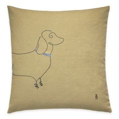 ED Ellen DeGeneres Dachshund Throw Pillow in Yellow - BedBathandBeyond.com