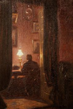 An Interior with a Man seated by Lampligt - Christian Clausen Danish, Aesthetic Painting, Aesthetic Art, Aesthetic Pictures, Renaissance Kunst, Arte Obscura, Classic Paintings, Classical Art, Art Plastique, Dark Art