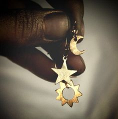 Sun, moon and star hand cut brushed brass earrings with gold plated hooks $38.00 USD Handmade item Materials: brass, gold Made to order Feedback: 5 reviews Ships worldwide from California, United States I HAVE A LARGE SELECTION TO CHOOSE FROM!