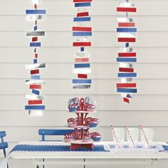 red white and blue paper garland