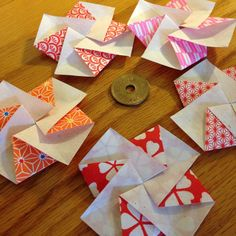 five japanese flower blossom tato: origami envelopes or flat containers