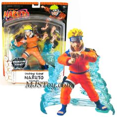Mattel Year 2006 Shonen Jump's Naruto Series Premium Sculpt 7 Inch Tall Action Figure - SHADOW CLONE NARUTO UZUMAKI with 3 Authentic Shinobi Poses and Water Display Stand