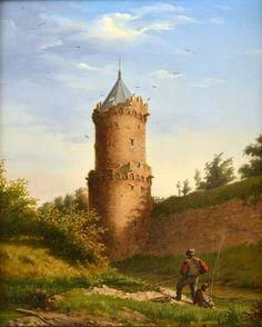 Gezicht op de Kronenburgertoren in Nijmegen door Rudolphus Lauwerier.