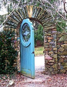 stone, blue door, garden gate