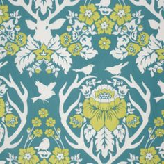 Joel Dewberry - Birch Farm - Antler Damask in Peacock not mint but blues green. deer and girly $9.50/yd